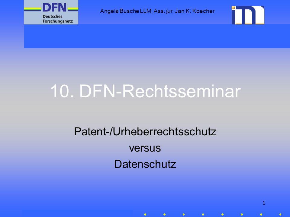 Patent-/Urheberrechtsschutz versus Datenschutz
