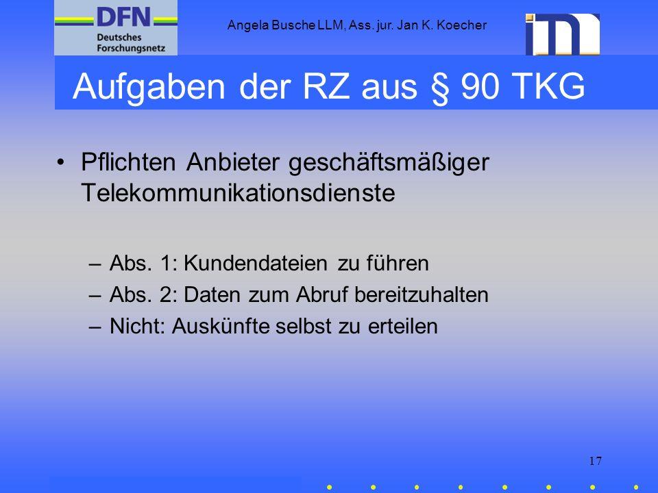 Aufgaben der RZ aus § 90 TKG