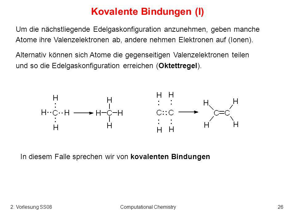 Kovalente Bindungen (I)