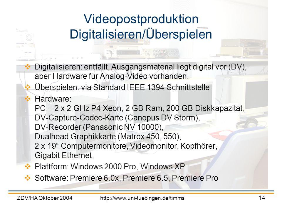 Videopostproduktion Digitalisieren/Überspielen
