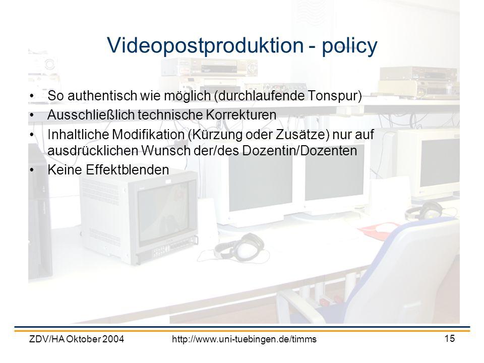 Videopostproduktion - policy