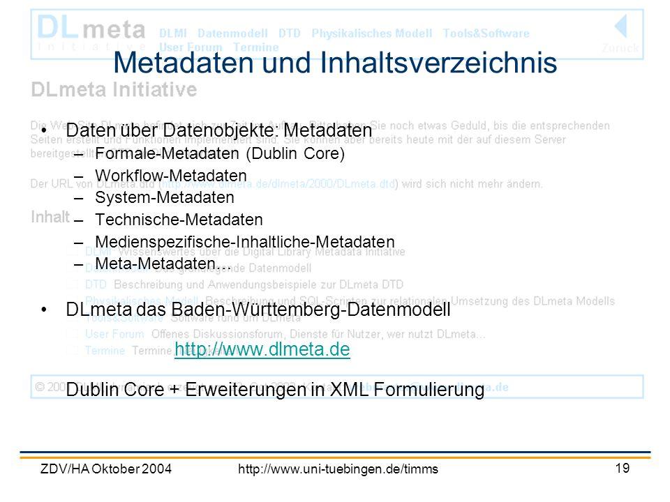 Metadaten und Inhaltsverzeichnis