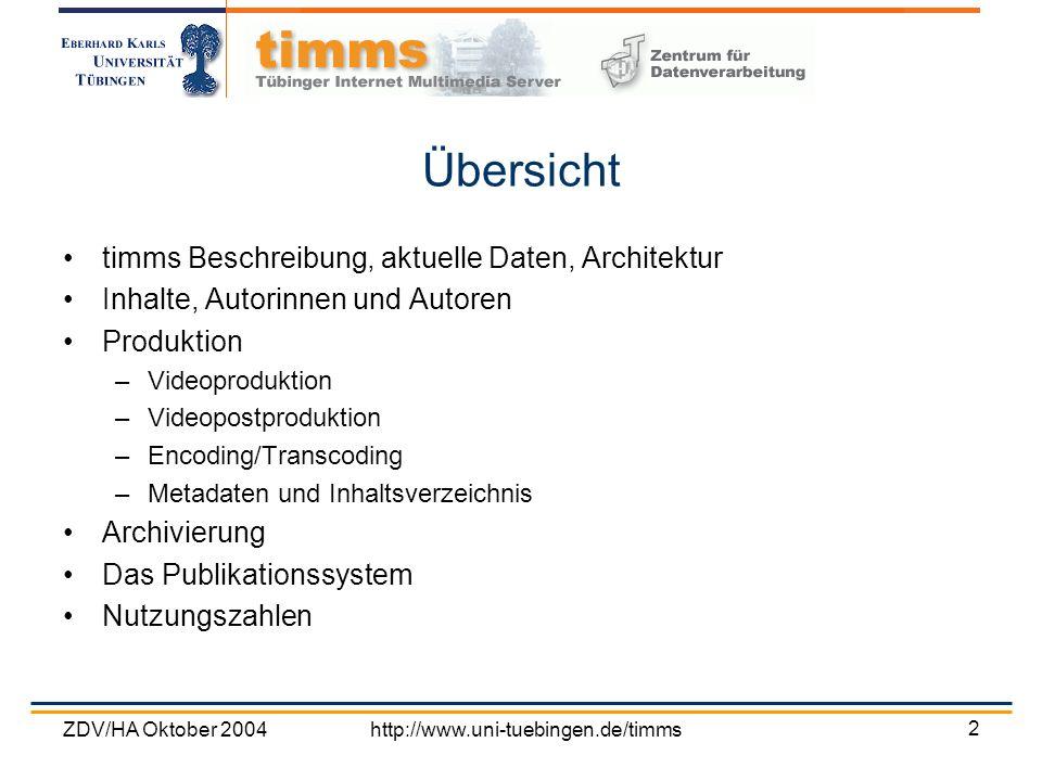 Übersicht timms Beschreibung, aktuelle Daten, Architektur