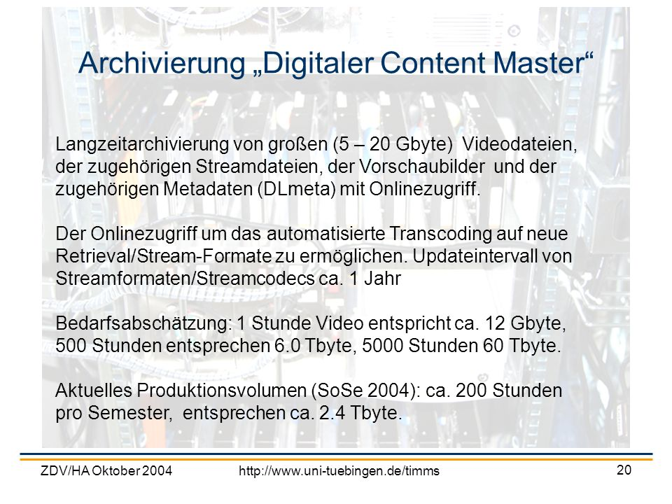 "Archivierung ""Digitaler Content Master"