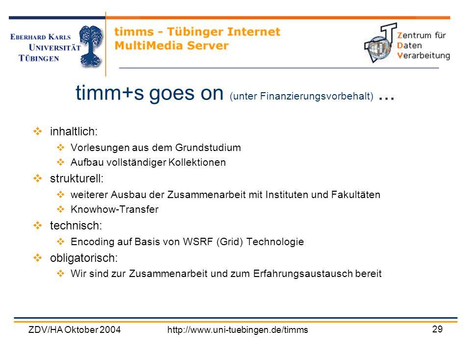 timm+s goes on (unter Finanzierungsvorbehalt) ...