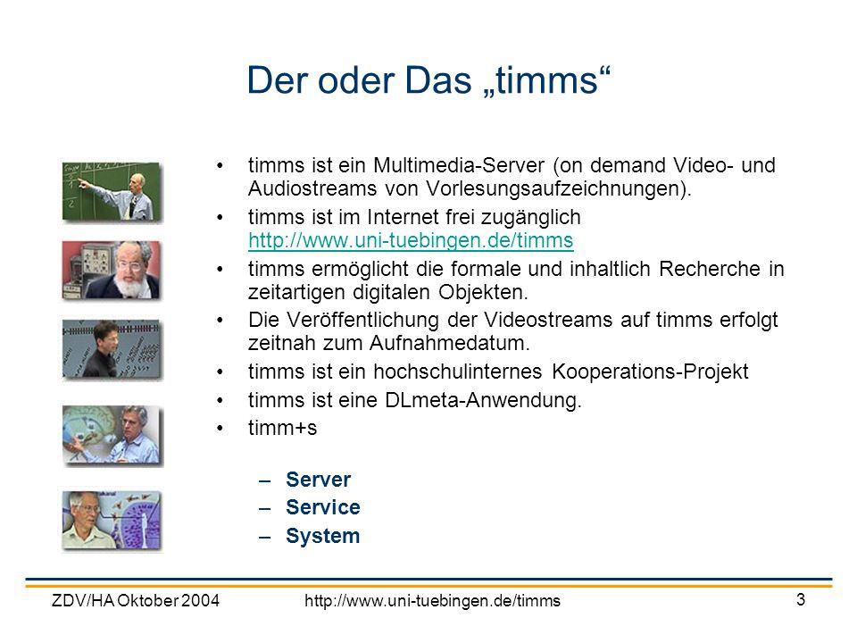 """Der oder Das """"timms timms ist ein Multimedia-Server (on demand Video- und Audiostreams von Vorlesungsaufzeichnungen)."""