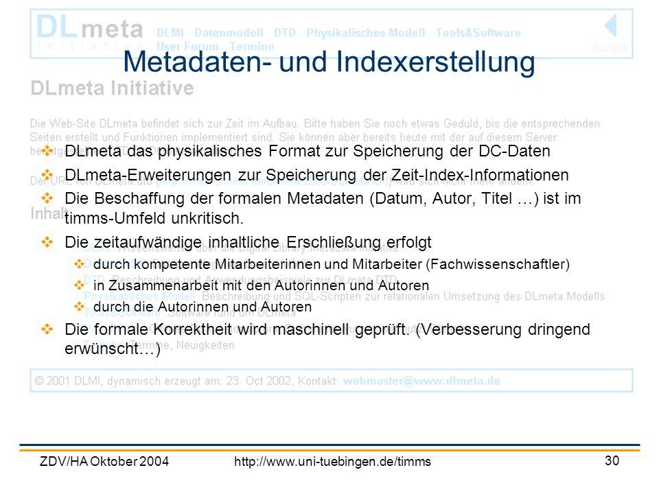 Metadaten- und Indexerstellung