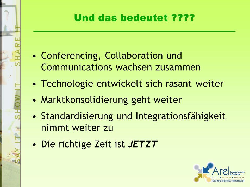 Und das bedeutet Conferencing, Collaboration und Communications wachsen zusammen. Technologie entwickelt sich rasant weiter.