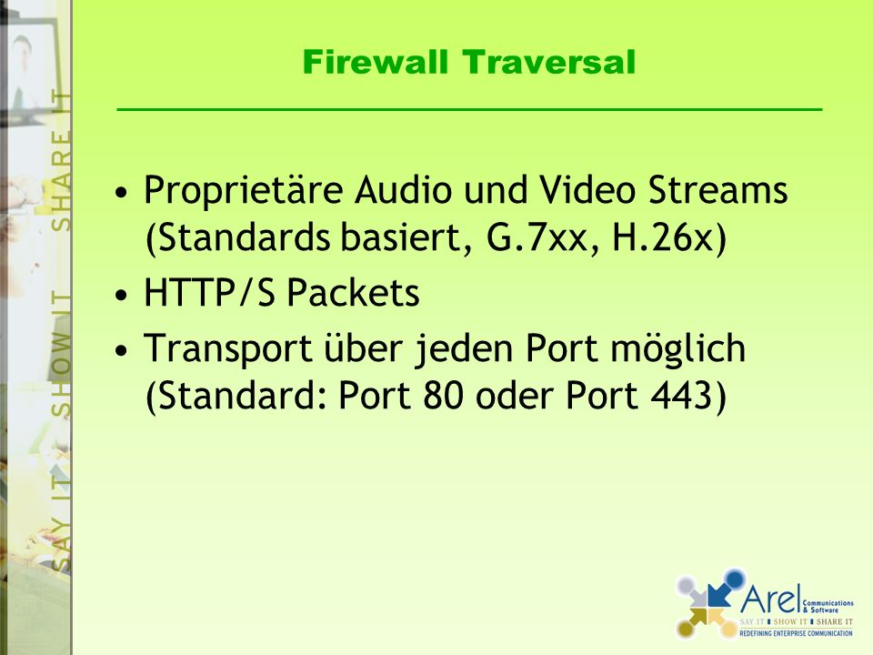 Proprietäre Audio und Video Streams (Standards basiert, G.7xx, H.26x)