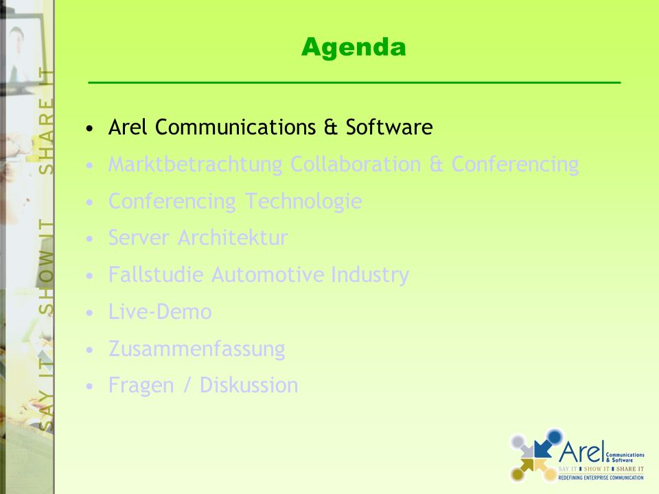 Agenda Arel Communications & Software