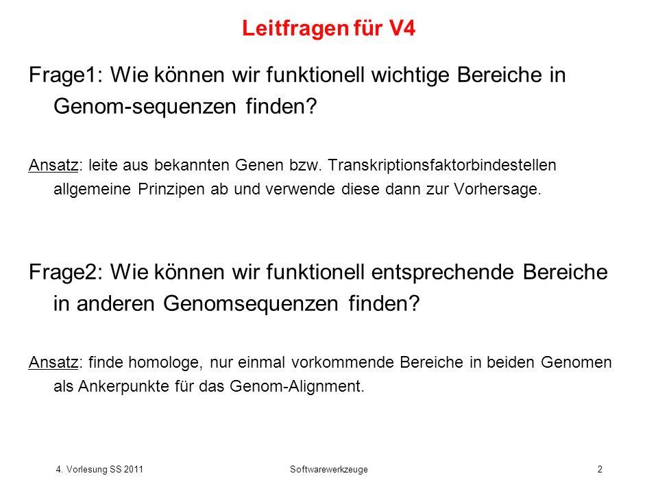 Leitfragen für V4 Frage1: Wie können wir funktionell wichtige Bereiche in Genom-sequenzen finden