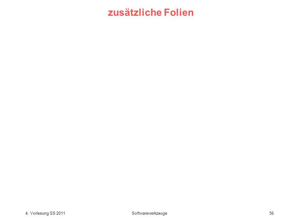 zusätzliche Folien 4. Vorlesung SS 2011 Softwarewerkzeuge