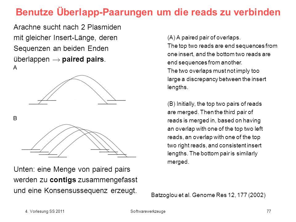 Benutze Überlapp-Paarungen um die reads zu verbinden