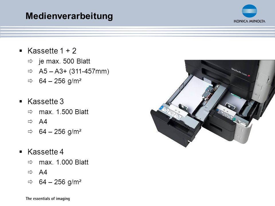 Medienverarbeitung Kassette 1 + 2 Kassette 3 Kassette 4