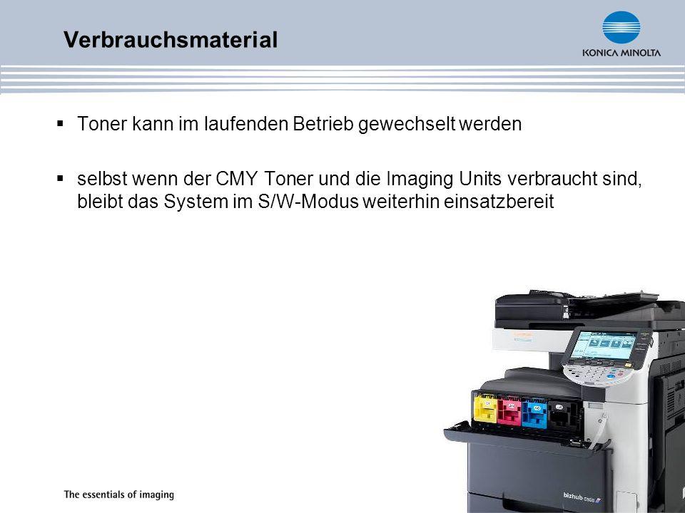Verbrauchsmaterial Toner kann im laufenden Betrieb gewechselt werden