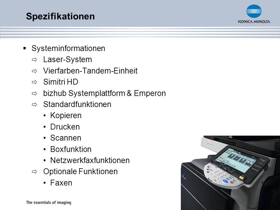 Spezifikationen Systeminformationen Laser-System
