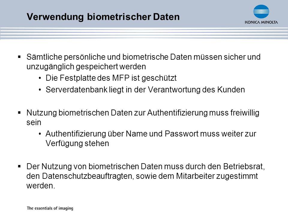 Verwendung biometrischer Daten