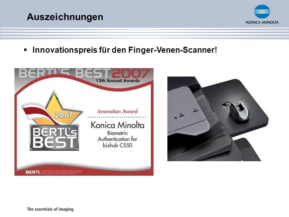 Auszeichnungen Innovationspreis für den Finger-Venen-Scanner!