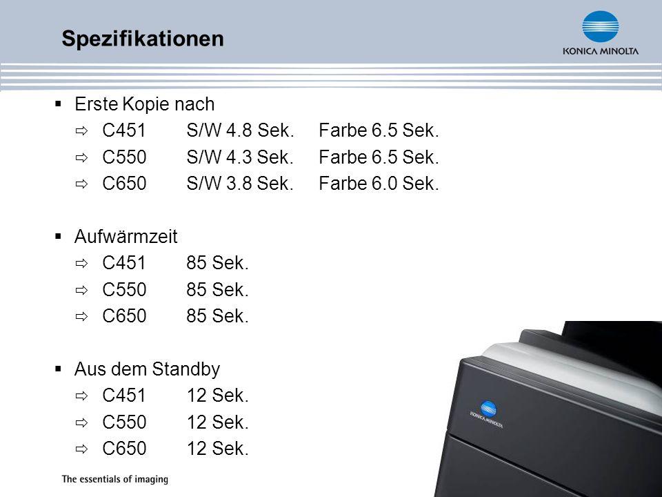 Spezifikationen Erste Kopie nach C451 S/W 4.8 Sek. Farbe 6.5 Sek.