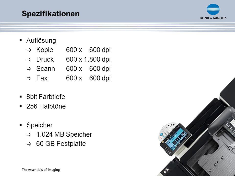 Spezifikationen Auflösung Kopie 600 x 600 dpi Druck 600 x 1.800 dpi