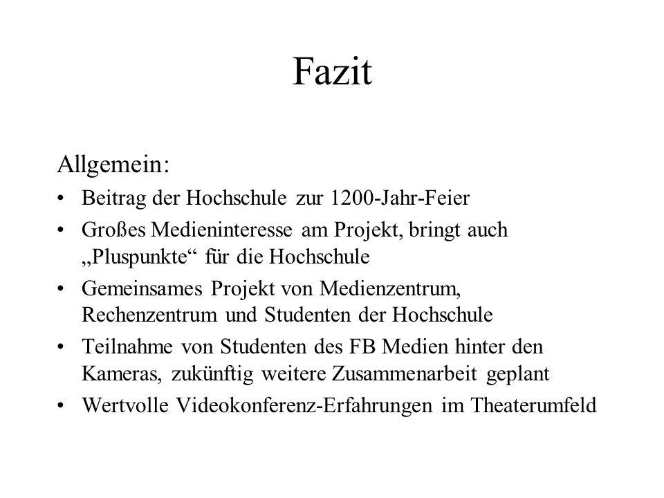 Fazit Allgemein: Beitrag der Hochschule zur 1200-Jahr-Feier