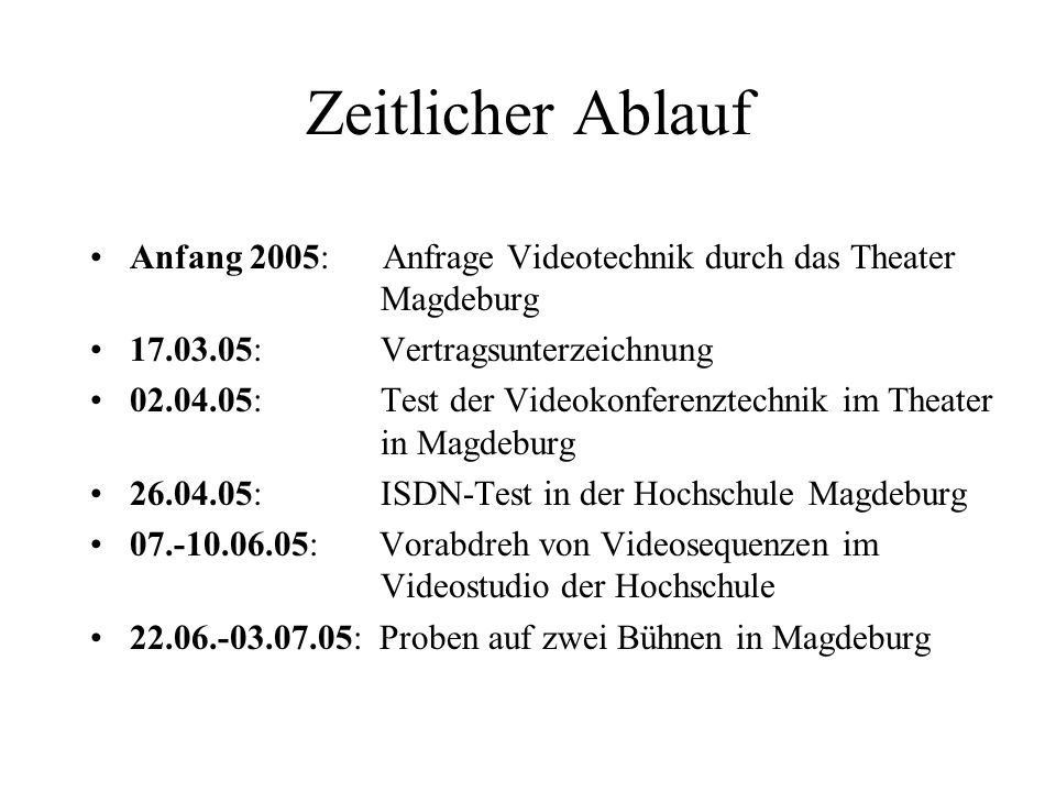Zeitlicher Ablauf Anfang 2005: Anfrage Videotechnik durch das Theater Magdeburg. 17.03.05: Vertragsunterzeichnung.