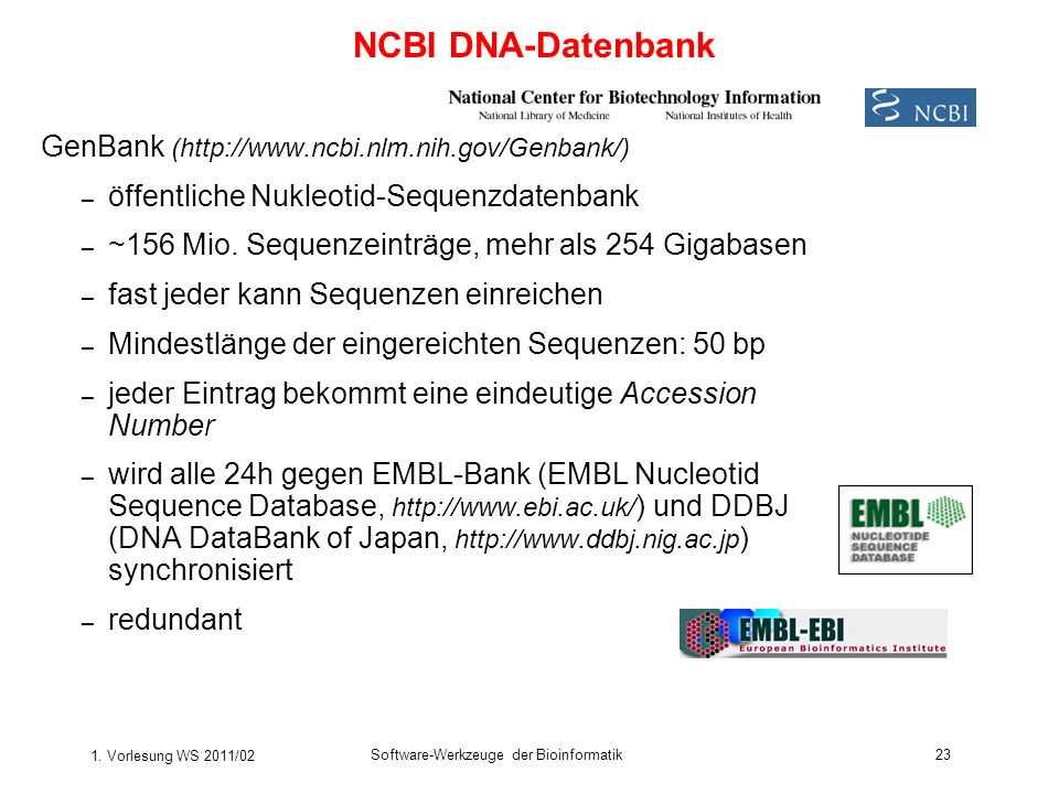NCBI DNA-Datenbank GenBank (http://www.ncbi.nlm.nih.gov/Genbank/)