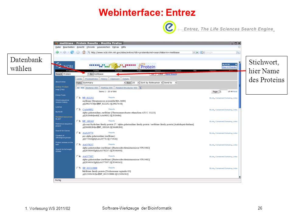 Webinterface: Entrez Datenbank wählen