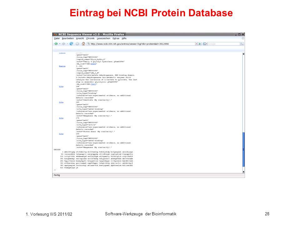 Eintrag bei NCBI Protein Database