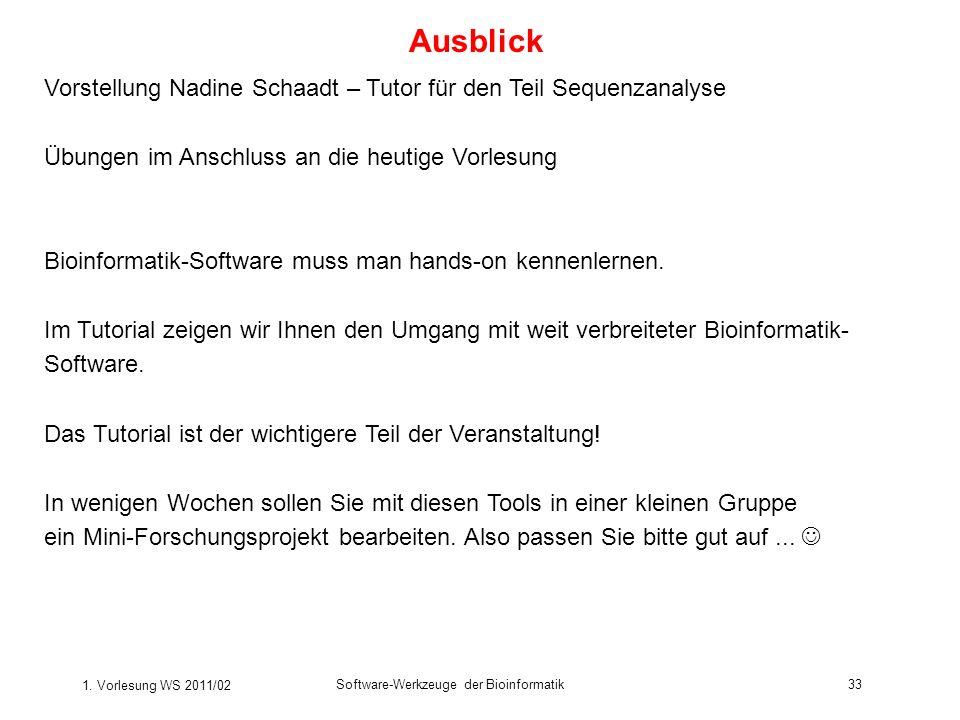 Ausblick Vorstellung Nadine Schaadt – Tutor für den Teil Sequenzanalyse. Übungen im Anschluss an die heutige Vorlesung.