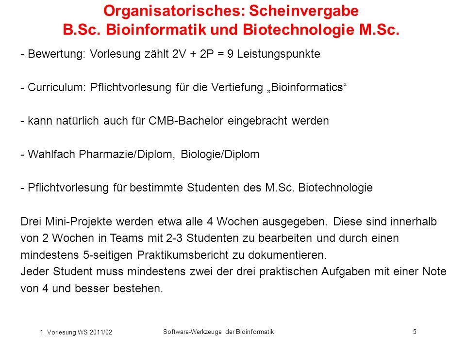 Organisatorisches: Scheinvergabe B. Sc