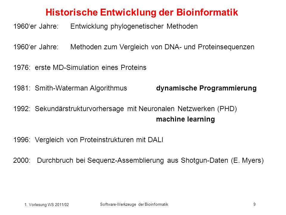 Historische Entwicklung der Bioinformatik