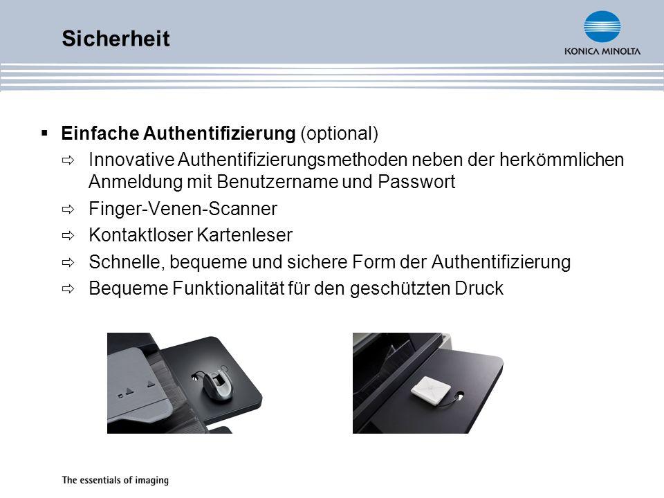 Sicherheit Einfache Authentifizierung (optional)