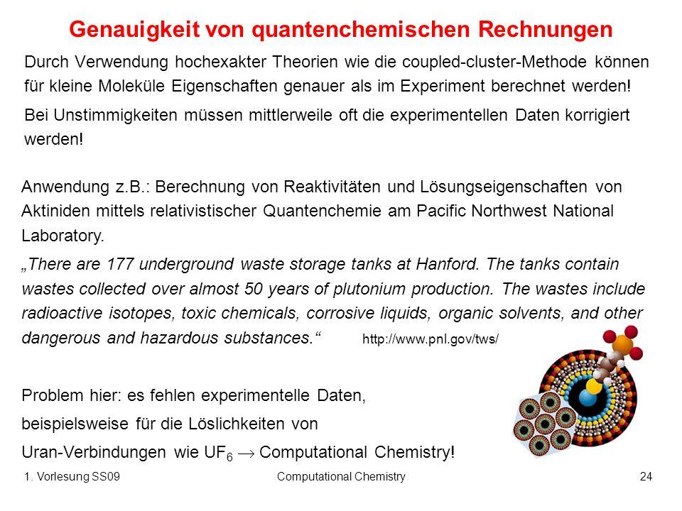 Genauigkeit von quantenchemischen Rechnungen