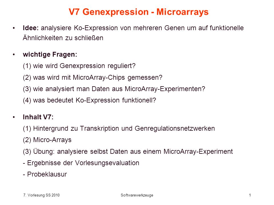 V7 Genexpression - Microarrays