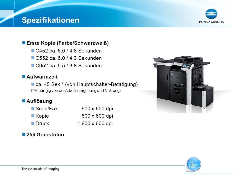 Spezifikationen Erste Kopie (Farbe/Schwarzweiß)