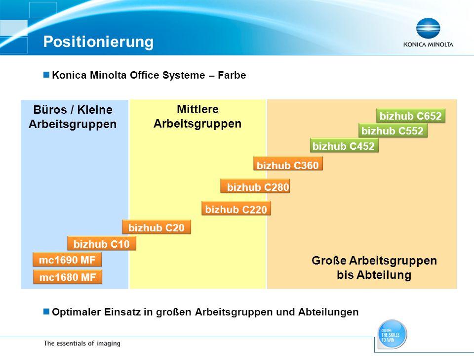 Positionierung Büros / Kleine Arbeitsgruppen Mittlere Arbeitsgruppen
