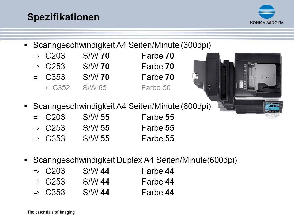 Spezifikationen Scanngeschwindigkeit A4 Seiten/Minute (300dpi)