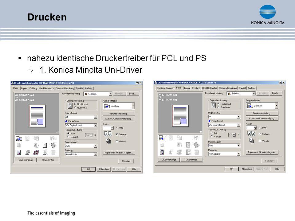 Drucken nahezu identische Druckertreiber für PCL und PS