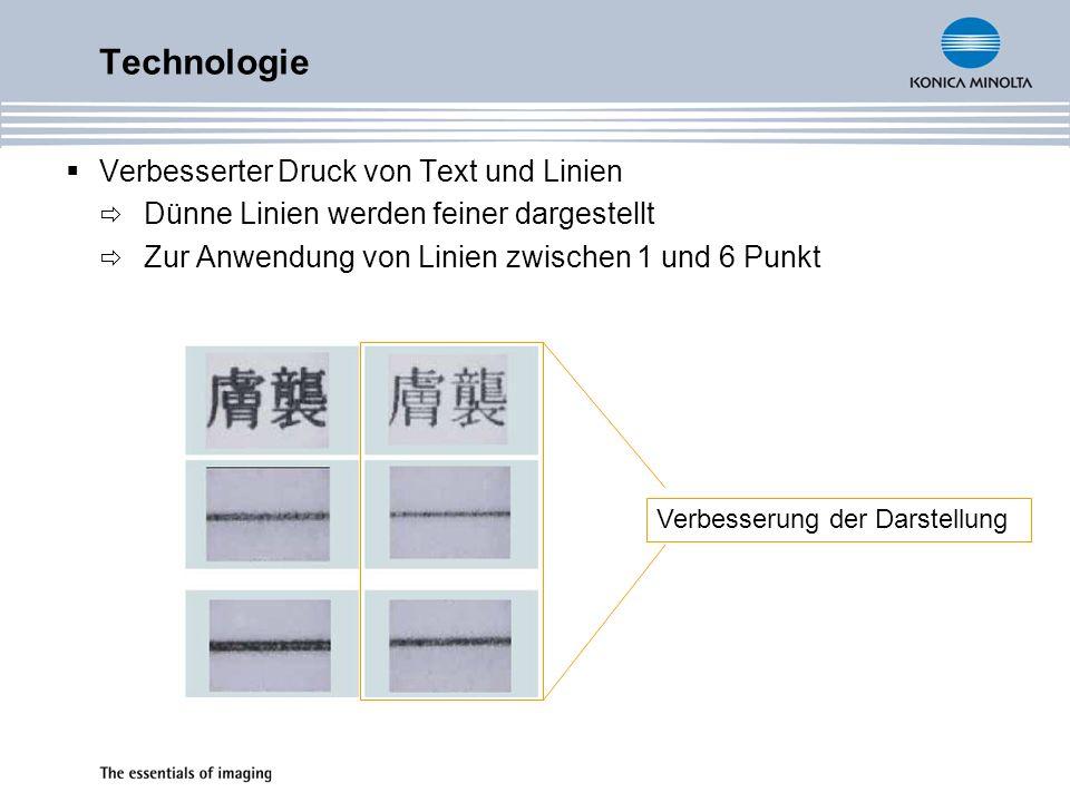 Technologie Verbesserter Druck von Text und Linien