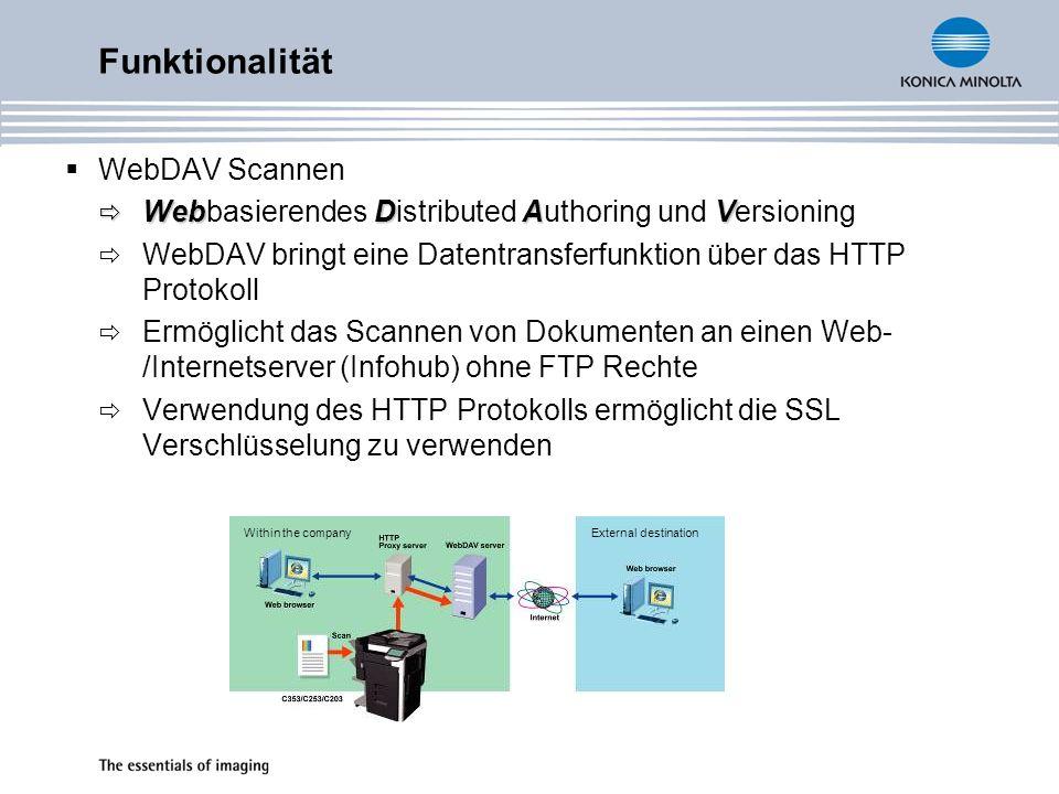 Funktionalität WebDAV Scannen