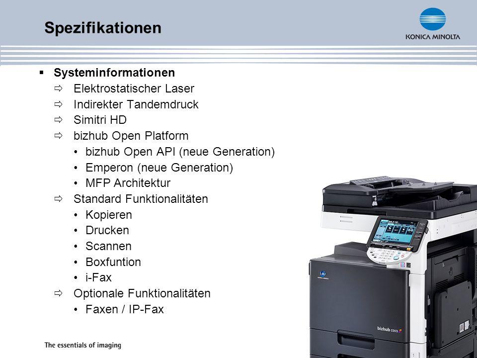 Spezifikationen Systeminformationen Elektrostatischer Laser