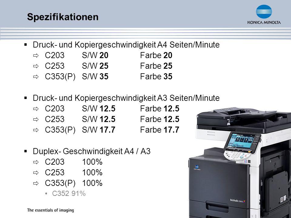 Spezifikationen Druck- und Kopiergeschwindigkeit A4 Seiten/Minute