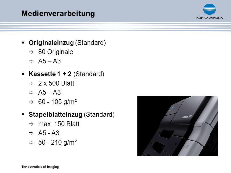 Medienverarbeitung Originaleinzug (Standard) 80 Originale A5 – A3