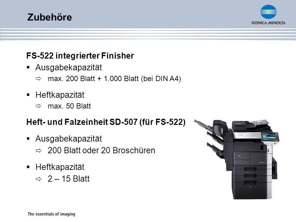 Zubehöre FS-522 integrierter Finisher Ausgabekapazität Heftkapazität