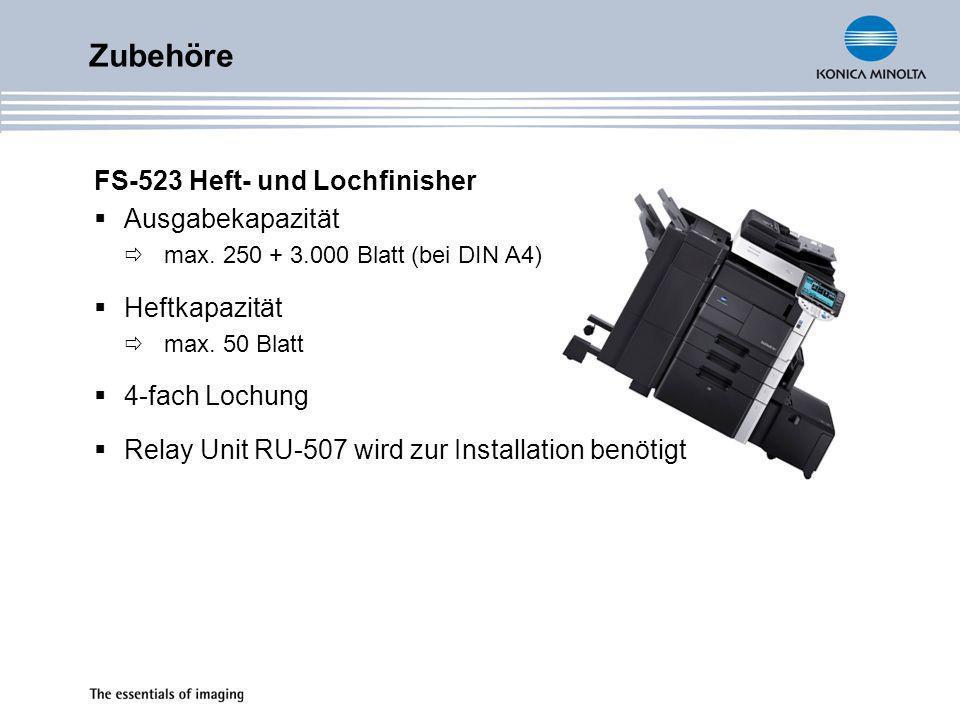 Zubehöre FS-523 Heft- und Lochfinisher Ausgabekapazität Heftkapazität