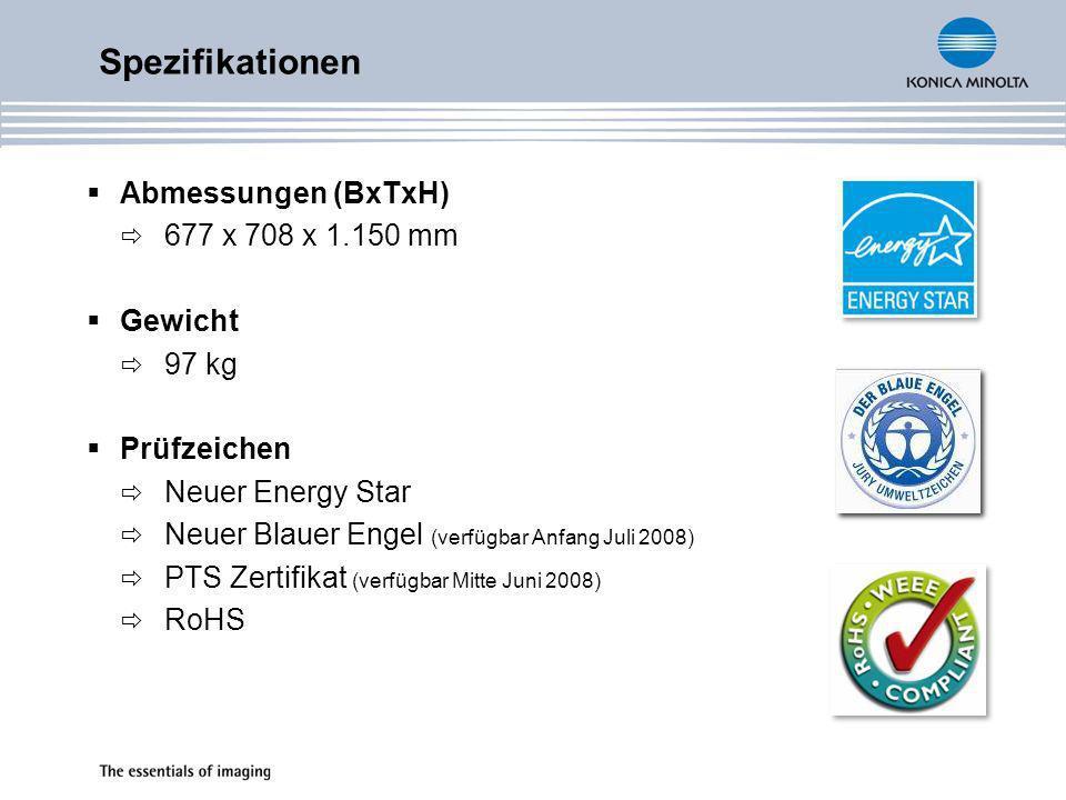 Spezifikationen Abmessungen (BxTxH) 677 x 708 x 1.150 mm Gewicht 97 kg