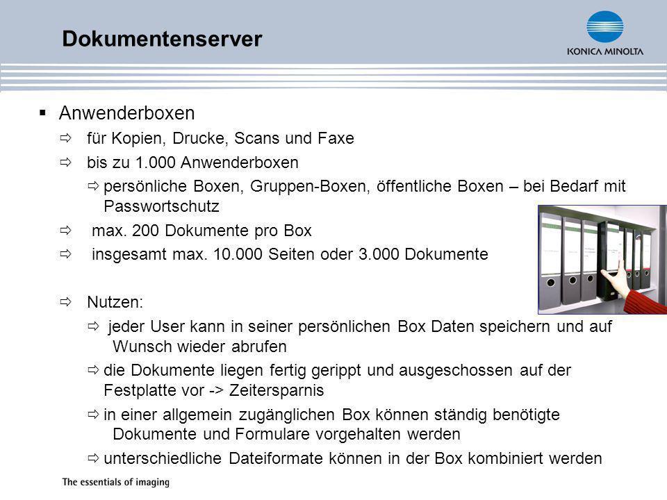 Dokumentenserver Anwenderboxen für Kopien, Drucke, Scans und Faxe