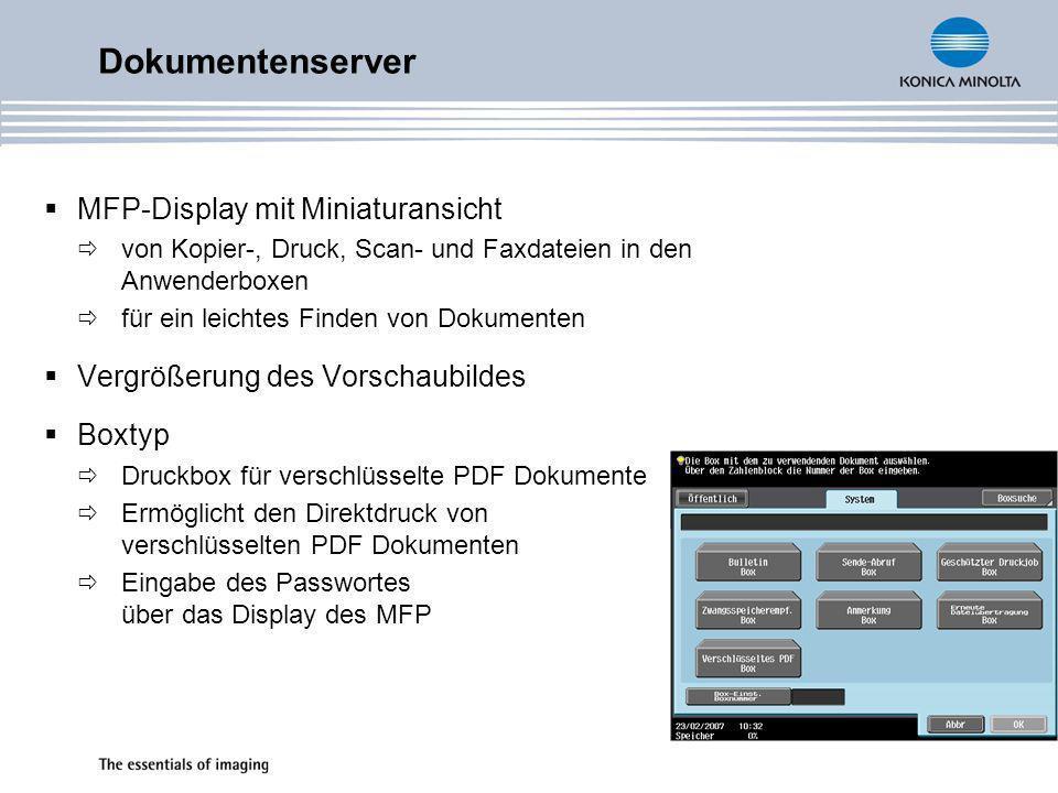 Dokumentenserver MFP-Display mit Miniaturansicht