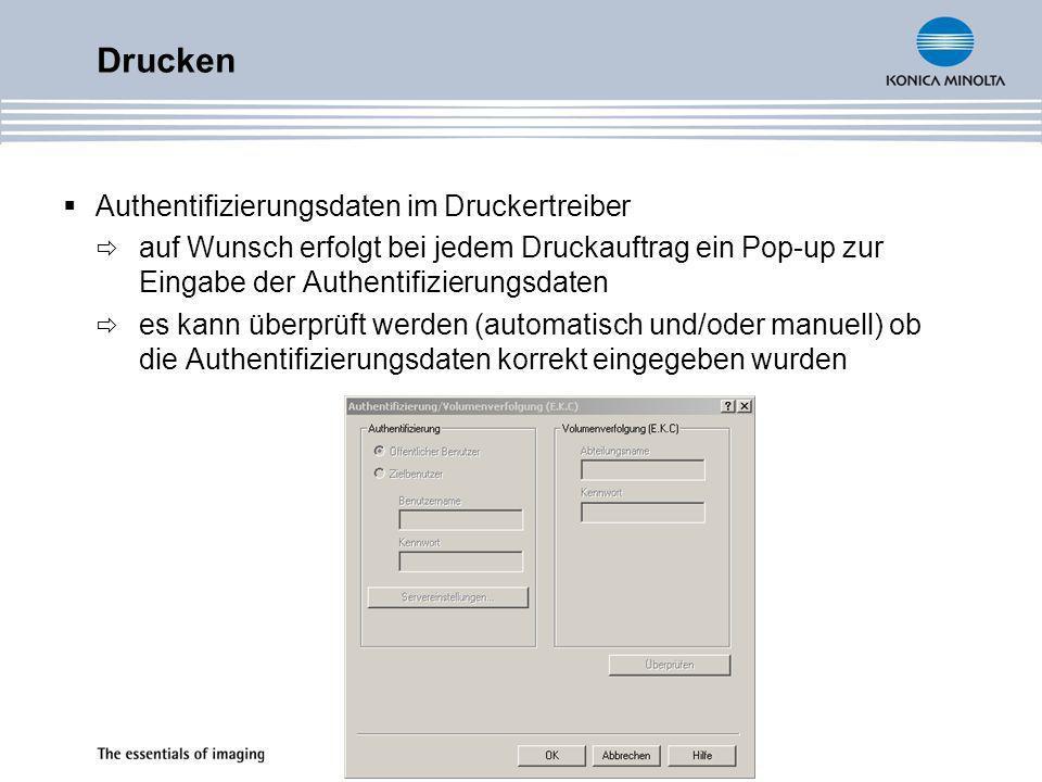 Drucken Authentifizierungsdaten im Druckertreiber